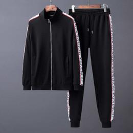 Wholesale Designer Chiffon - 2017 luxury designer brand best version Autumn Winter men clothing red green striped Tracksuits letter print zipper suit sweatshirt coat