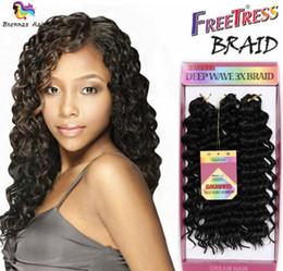 Extensões de cabelo curly sintéticas tecem on-line-New Premium 10 inch 3 pçs / lote Onda Profunda Extensão Do Cabelo Sintético Encaracolado Sintético Tecer Jerry Curl Trança de Crochê Freetress Torção Profunda