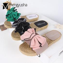 Design bowtie online-Sandali di colore della caramella donne famose pantofole di design doppio strato bowtie terlik sandalias tacco piatto infradito c685