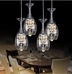 Wholesale Dining Room Crystal Chandelier - Modern Clear Wine Glass Crystal Pendant Lamp K9 Crystal Living room Restaurant Chandelier Light Hanging 1~9 head Light with Blue Lights