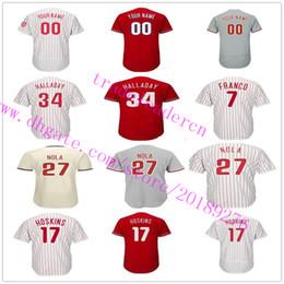 Wholesale Custom Brown - Mens Youth Womens 27 Aaron Nola 17 Rhys Hoskins 34 Roy Halladay 20 Mike Schmidt Maikel Franco Custom Home Away Philadelphia Baseball Jerseys