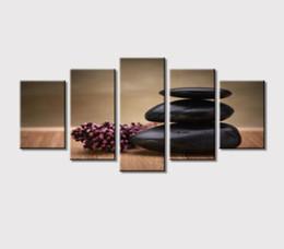 Panel de pared online-Personalizado 5 Paneles Arte de la Lona Pintura Tablero Esponja de Melamina y Flores de Piedra Arte de la Pared de Impresión de Imagen Decoración Para la Habitación Decoración de la Oficina