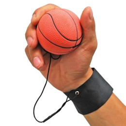 Wholesale sponge rubber balls - 63mm Return Sport Ball Bouncy Wrist Band Ball - Stress Relief Wrist Exercise- Sponge Football, Basketball. Tennis, Baseball