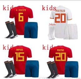 Wholesale boys shirts sale - 2018 world cup Spain soccer Jersey kids kit with socks Spain soccer shirt 22 ISCO #20 ASENSIO Football uniforms sales kids full set