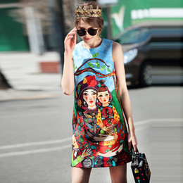 Wholesale natural puppy - New Occident Hotsale Runway 2018 Spring Summer New Street Hipster Girl Puppy Graffiti Printing Sleeveless Word Dress