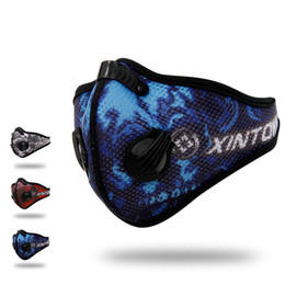 Wholesale blue gold filter - Q331 XINTOWN Men Sports Cycling Breathable Carbon Filters Face Mask Bicycle Dust Smog Protective Half Face Neoprene Mask PM2.5