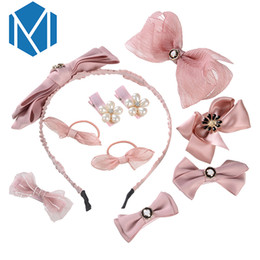 pink hair bow pearls Coupons - MISM 10Pcs Set Princess Girls Kid Hair Accessories Cute Child Bow Hairpins Hair Clips Lolita Pearl Flower Elastic Band Headdress