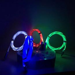Fließendes led-lichtkabel online-100 CM Telefon USB Streamer Datenleitung Fließen LED-Licht USB Ladekabel Kabel für Iphone Android Typ C