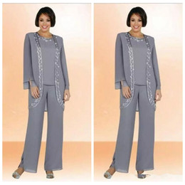 Wholesale cheap grey suits - 2018 Modest Silver Grey Chiffon Jewel Long Mother Of The Bride Pant Suits With Long Sleeve Jacket Cheap Embroidery Formal Suits Custom