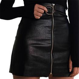 2017 Vogue Femmes D été Zipper En Cuir Jupe Taille Haute Punk Party Street  Style Cluwear Lady Sexy Mini Crayon Noir Slim Jupes mini-jupe sexy   vendre b8352d003b01