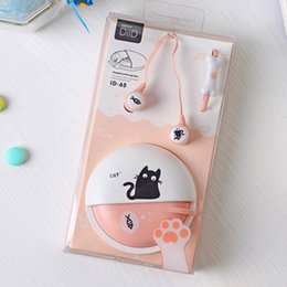 Wholesale Cat Ears Iphone Cases - Cute Cat Macarons 3.5mm in-ear Stereo Earphones with Mic Earphone Case for iPhone Xiaomi Girls Kids Child Student for MP3 Gifts
