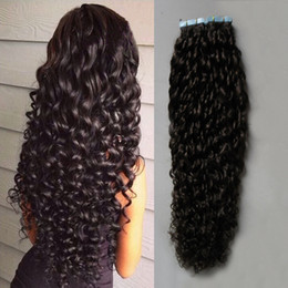 Wholesale Ombre Hair Tape - #2 Darkest Brown afro kinky curly tape in human hair extensions 100g brazilian curly virgin hair 40pcs Set Skin Weft Hair