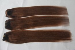 trama remy malese dei capelli ricci marroni Sconti Estensione 100% dei capelli umani di 100% dei capelli dritti malesi di colore marrone scuro 10-30 pollici Doppia estensioni dei capelli di trama non trasformati