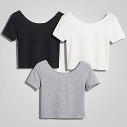 Nackte taille online-Neue Mode Frauen Scoop Neck Crop Tops Kurzarm Bare Midriff Casual Bluse T-Shirt Lose Baumwolle T-Shirt Frauen Top