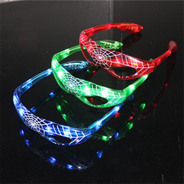 Wholesale Led Lights For Halloween Masks - LED Spiderman Eye glasses Birthday Party Light Up Flashing Wedding Favors and Gifts Glow Eye Mask Halloween