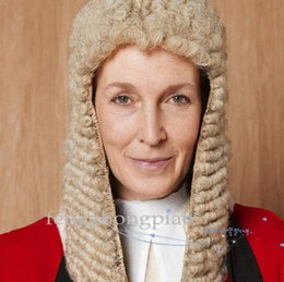 Scarpe americano tacco online-FZP Judge Wig Baroque Nobleman Women Curls Historical Curls Historical Grey Parrucche Cosplay Parrucca Colonial George