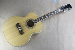 """jazz leggero blu Sconti 12 corde qualità AAA 43 """"Custom Shop chitarra elettrica acustica Fishman 101/301 può essere installato Solid Spurce Top acero sui lati posteriori"""