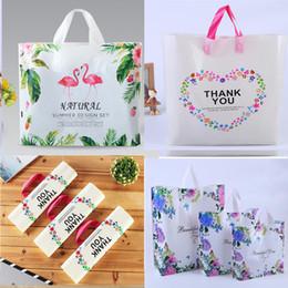 Магазины бабочек онлайн-Фламинго пластиковые подарочные пакеты, большие сумки для розничной торговли одежда продуктовый бутик сумки с ручками, любовь бабочки и спасибо