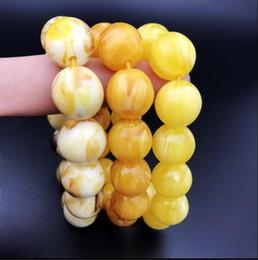 Bracelet en cire d'abeille en Ligne-Saumure fluorescente, deux perles de cire d'abeille, bracelet, perles, hommes et femmes ficelle à la main, pure perle d'huile de poulet jaune perle de cire d'abeille