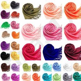 Новый праздник ежегодная встреча деятельность имитация кашемир шарф Осень Зима женщины кистями пашмины шаль чистый цвет обертывания шарфы T7c073 от