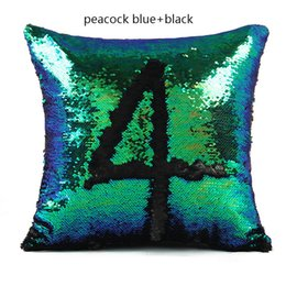 Wholesale White Home Decor - HOT SELL Glitter Cushion Cover 11 Kinds Double Color Sequins Throw Pillow Case Cafe Home Decor Size 40*40cm