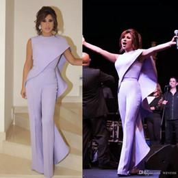Wholesale jumpsuit dress length - Lavender Jumpsuits Arabic Evening Dresses Jewel Neck Pantsuit Plus Size Prom Gowns Cheap Sheath Ruffled Formal Party Gowns