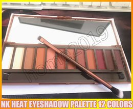 Wholesale Heat Brush - NEW Heat Palette HEAT Eye Shadow Palette 12 colors Eyeshadow Makeup Cosmetics set with brush DHL
