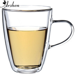 drink glasses double Coupons - Arshen Big Promotion !Durable 350ml Clear Handmade Heat Resistant Double Wall Glass Tea Coffee Drink Mug Perfect Craft Gift