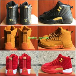 Wholesale Fabric Clasps - new air retro 12 XII red black brown men basketball shoes sneakers retros 12s clasp mens basket ball sneaker sports shoes retro12 boosts