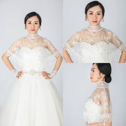 hoher kragenmantel Rabatt 2018 Günstige White Ivory Bridal Wraps Jacken Quaste Applique Tüll Stehkragen Brautjungfer Hochzeitskleid Mantel Caps
