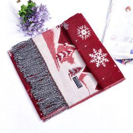 снежные шарфы Скидка Christmas Scarf for women 2018 Christmas Gift Snow Print Wraps Shawl Winter Scarves Shawl Scarves Women Girls