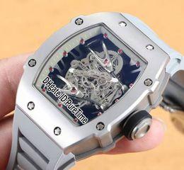 orologi in titanio Sconti Migliore versione 27-02 Tourbillon Rafael Nadal cassa in acciaio al titanio quadrante scheletro Grigio interno Miyota Mens orologio automatico in gomma grigia R272-b2