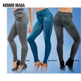Wholesale False Knitting - KOSMO MASA 2017 Women Leggings Jeans Leggins With 2 Pieces False Pocket Black Blue Gray Jeggings 3 Pieces Set Retail WL0005