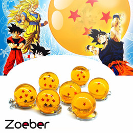 Bolas de cristal de resina on-line-ZOEBER Dos Desenhos Animados anime Dragon Ball Z Chaveiro Criança DBZ cosplay Dragonball Z 7 Estrelas Bola De Cristal Chaveiros PVC Pingente chave titular