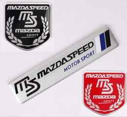 Wholesale ms word - MS Mazdaspeed Car Styling Metal Emblem Car Sticker 3D Decals Creative Mark Badge Auto Stickers flag fit for Mazda [two size]