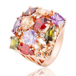 anillo de diamantes de cristal swarovski 18k Rebajas Anillo para mujer Anillo de compromiso de diamantes de lujo 18K Anillo de boda de oro rosa de 18 quilates plateado Circonita Anillo de bodas Swarovski Anillo de piedras preciosas de cristal austriaco