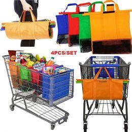 Wholesale Foldable Reusable Grocery Bags - 4PCS Set Shopping Cart Trolley Bags Foldable Reusable Grocery Shopping Bag Eco Supermarket Bag Easy to Use and Heavy Duty Bolsas Women&Men