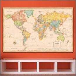 2019 mapas do mundo emoldurados Impressão em tamanho grande Pintura Art Wall Mapa do mundo wall art Home Decor Sala de estar Moderna Impressão de Lona Pinturas sem quadros mapas do mundo emoldurados barato