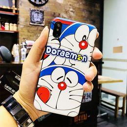 2019 telefones doraemon Casos de telefone celular Doraemon para Iphone 6/7/8 mais X XS Azul TPU PU Mobile Phone Cases Celular Acessórios telefones doraemon barato