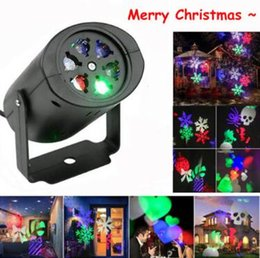 Luci laser da giardino online-LED Snowflake Projector Light Xmas Laser Projector Outdoor Indoor Light whit 4pcs Switchable Pattern Lens Garden Decorations CCA10693 50pcs