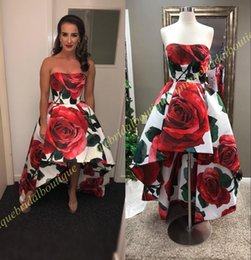 Wholesale Floral High Low Prom Dresses - Print Rose Hi Lo Prom Dresses 2018 Meg Donnelly Inspired Floral High Low Celebrity Formal Evening Dress Custom Measurements Real Pictures