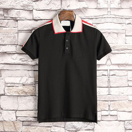 Wholesale Mens Polos - 2018 Italy designer polo shirt t shirts Luxury Brand snake bee floral embroidery mens polos High street fashion polo t-shirt