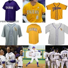 Wholesale alex white baseball - Custom men LSU Tigers College Baseball 8 Alex Bregman Purple Gold White Yellow DJ LeMahieu Nola Gausman Any Name Number Jerseys
