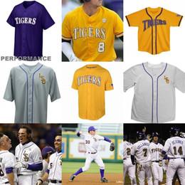 Wholesale Alex White Baseball - Custom men LSU Tigers College Baseball 8 Alex Bregman Purple Gold White Yellow DJ LeMahieu Nola Gausman Any Name Number Jerseys