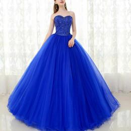 Argentina Vestidos de quinceañera azul real fiesta de baile de fiesta largo sexy Sweetheart con cuentas corsé Puffy falda dulce 16 vestidos desfile de moda formal cheap royal blue corset dress Suministro