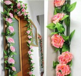 Shop sale artificial flower garlands uk sale artificial flower 2018 hot sales 240cm fake silk roses ivy vine artificial flowers with green leaves for home wedding decoration hanging garland decor mightylinksfo