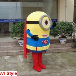 Wholesale Minions Costumes - minion x superman Cartoon Fancy Dress Mascot Costume Adult Suit Express