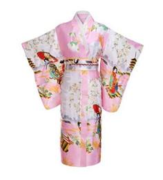 traje de kimono rosa Rebajas Vintage Pink Japanese Women Kimono Satén Clásico Yukata Haori Novedad Evening Party Vestido Flor Cosplay Un Tamaño JK002