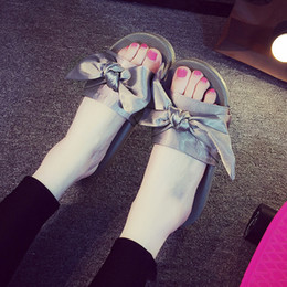 Wholesale dust bag shoes cover - New shoes slippers Mix colors for women With Box Dust bag 2017 Fashion ladies summer bowtie Slide Sandals flip flop xz161