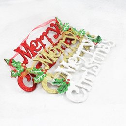 Wholesale Christmas Santa Figurines - Merry Christmas Letter Cards Doorplate Hanging Pendant Xmas Ornaments Santa Claus Snowman Home Party Christmas Tree Decoration
